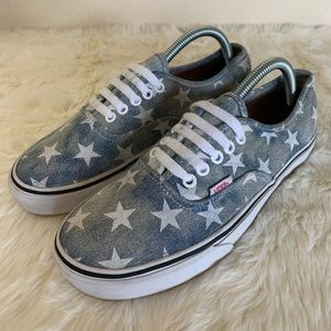 EUC Vans Authentic Acid Washed Denim Stars Blue